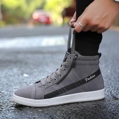 Review Yozo Pria Sepatu Kasual Fashion Tinggi Top Outdoor Rekreasi Sepatu Lace Up Flock Nyaman Tren Pria Tinggi Atas Sepatu Intl