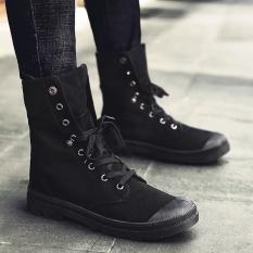 Review Yozo Pria Sepatu Fashion Denim Boots Dua Cara Memakai Flock Lace Up Nyaman Tren Pria Boots Hitam Intl Di Tiongkok