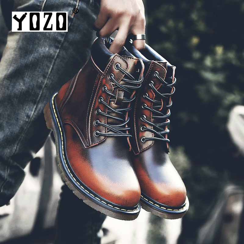 YOZO New Male Fashion Ankle Boots Winter / Autumn men's Motorcycle Martin Boots men Boots Snow Boot
