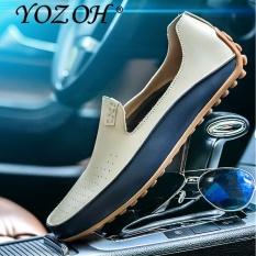 Yozoh Ukuran Besar Pria Kulit Asli Sepatu Tergelincir Hitam Sepatu Kulit Asli Pantofel Pria Moccasins Sepatu-Internasional