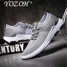 Jual Yozoh Bernapas Mesh Musim Panas Pria Sepatu Sepatu Alas Kaki Pria Sepatu Slipon Grey Satu Set