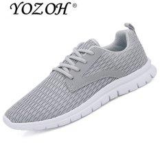 Yozoh Pria Outdoor Sport Jogging Running Sepatu Sneakers Casual Mesh Bernapas Pelatih Rendah Potong Kembar Abu Abu Intl Asli
