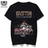 Spesifikasi Yuandi Led Zeppelin Mothership Desain Pria Kaus Katun Merek Pakaian Kasual Pria Lengan Pendek T Shirts Hitam 2 Intl Baru