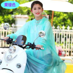 Yucheng Pria Dan Wanita Helm Jenis Dewasa Tunggal Sepeda Jas Hujan Mobil Listrik Jas Hujan ([Ganda Pinggiran Topi] Berlengan--Hijau)