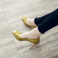 Yuda Korea Modis Gaya Kulit Paten Musim Semi Baru Sepatu Kerja Sepatu Wanita (Hijau)