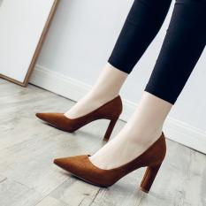 Yuda Musim Semi Sederhana Baru Pointed untuk Tebal With Sepatu Tumit Korea Modis Gaya Sepatu Wanita (Merah Muda)