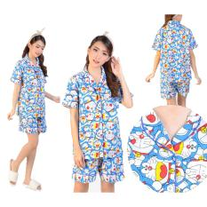 Yuki Fashion Pajamas Set Doraemon Biru 3 + Celana Pendek