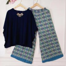 Yuki Fashion Setelan 2 in 1 Alexa Atasan dan Pants Kulot Wanita - Navy