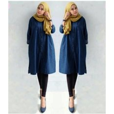 Yuki Fashion Tunik Inez Bahan Semi Jeans - Fit-XL- Navy