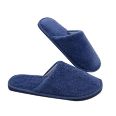 Yunmiao Men Women's Soft Long Plush Solid Foam Silent Soles Winter Non-slip Indoor Slippers Color:Navy blue Size:42-43 feet suitable for 41-42 - intl
