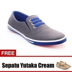 Review Toko Yutaka Sepatu Kets Sneakers Abu Abu Biru Gratis Sp30 Cream