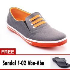 Yutaka Sepatu Kets Sneakers Abu-abu Orange Free Footage Sandal Pria F- 02 Abu-abu ukuran 40