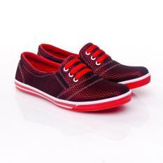 Miliki Segera Yutaka Sepatu Kets Sneakers Hitam Merah