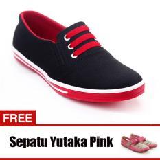 Yutaka Sepatu Kets Sneakers Hitam Merah Gratis Sp30 Pink Yutaka Diskon 30