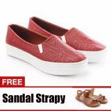 Beli Yutaka Sepatu Slip On Merah Gratis Sandal Triple Cokelat Lengkap
