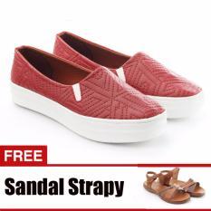 Diskon Yutaka Sepatu Slip On Merah Gratis Sandal Triple Cokelat Branded