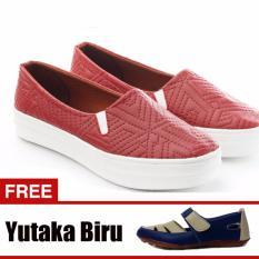 Jual Cepat Yutaka Sepatu Slip On Merah Gratis Sepatu Flat Biru