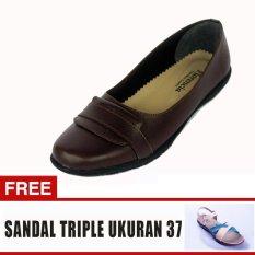 Yutaka Sepatu Wanita Ld03 Coklat + Gratis Sepatu Triple Ukuran 37