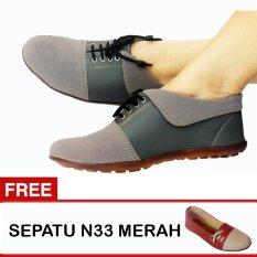 Kualitas Yutaka Sepatu Wanita N30 Abu Abu Gratis Sepatu N33 Merah Yutaka