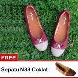 Obral Yutaka Sepatu Wanita N34 Merah Gratis N33 Coklat Murah