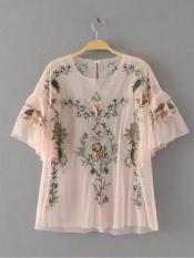 Zat Kemeja Di Eropa Dan Amerika Bordir Musim Semi Kemeja Renda Terlihat Langsing (Merah muda) baju wanita baju atasan kemeja wanita blouse wanita