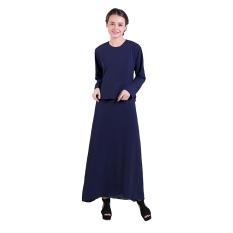 Zada Gamis Maxi Dress Peplum Dan Ruffle - Navy