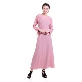 Jual Zada Gamis Maxi Dress Peplum Dan Ruffle Pink Salem Original