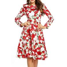 Beli Zaful Hepburn Seri Vintage Wanita Gaun Spring Dan Musim Gugur Gaya Yang Elegan Polka Dot Cetak Boneka Kerah Crew Leher Dan Panjang Desain Lengan Fit Flare Gaun Midi Intl Seken