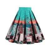 Situs Review Zaful Pleated Rok Womens Summer Swing Rok Mountain Cetakan Cantik Vintage Floral Midi Vintage Plus Ukuran Rok Deep Hijau Intl