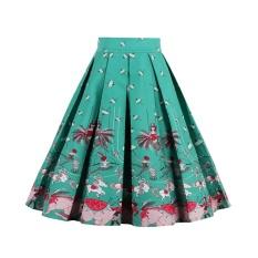 Toko Zaful Pleated Rok Womens Summer Swing Rok Mountain Cetakan Cantik Vintage Floral Midi Vintage Plus Ukuran Rok Green Intl Terlengkap Indonesia