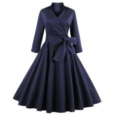 Jual Beli Zaful Vintage V Neck Gaun A Line Panjang Lengan Solid Warna Solid Swing Party Dress S*xy Gaun Ukuran Lebih Internasional Tiongkok
