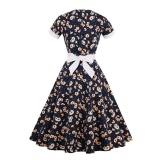 Tips Beli Zaful Wanita Gaun Baru Bermotif Bunga Vintage Dress Womens Patchwork Pendek Lengan Ruffles Dan Cetak Tradisional Desain Elegan Retro Fit Amp Amp Amp Amp Amp Amp Flare Gaun Intl