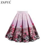 Iklan Zaful Wanita Vintage Rok Buah Musim Panas Floral Printing Zipper Side Elegant Gaya Desain Retro Rok Intl Tc