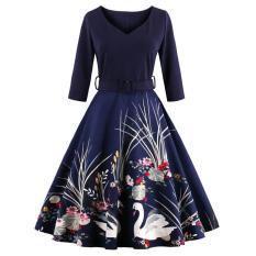 Spesifikasi Zaful Wanita Antik Gaun Cetak Gaya Elegan Pleated Ditetapkan Pinggang Navy Blue Intl Dan Harga