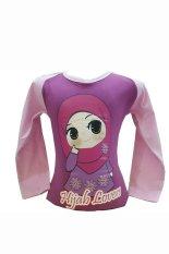 Zahra Kaos Anak Muslim Hijab Lovers Ungu Lengan Pink