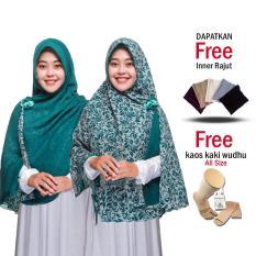 Zannah Hijab Jilbab Instan Pesta Kekinian Motif Bunga Serut Syari Hijab Instant Pengajian Jumbo Murah Kerudung Khimar Instan Bergo Simple Pet Anti Tembem Langsung Pakai Jilbab Model Terbaru Atasan Wanita Hijab Muslim Terbaru - Free Inner & Kaos Kaki