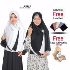 Zannah HIjab / Kerudung Instan Bolak Balik Termurah / Harga Grosir / Jilbab Instan Jumbo Syari / Hijab 2 in 1 Ukuran Besar / Fashion Muslim Terbaru Muslimah Wanita Model Sekarang + Free Inner + Kaos Kaki