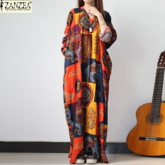Toko Zanzea 2 Colors Vintage Women V Neck Floral Printed Batwing Sleeve Dress Retro Ladies Maxi Long Dress Kaftan Loose Casual Vestido Printed Intl Lengkap Tiongkok
