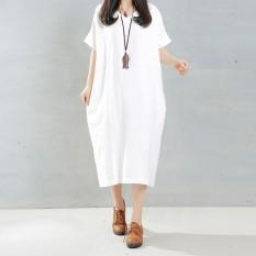ZANZEA 2016 Leher Wanita Elegan Berpakaian Panjang Pemukiman O Saku Longgar Lengan Yang Panjang Model Baju Santai Vestidos Ukuran Lebih Baik 5XL Putih
