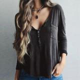 Beli Zanzea 2016 Fashion Kaos Wanita Lengan Panjang O Neck Berkancing Kasual Solid Atasan Katun Ukuran Lebih Blusas Grey Terbaru