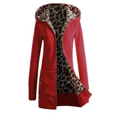 ZANZEA Baru Euroepan Gaya Busana Wanita Lengan Hangat Musim Baju Dingin Ritsleting Berkerudung Panjang Rak Ngomong Batak Macan Tutul Betina Jaket Pakaian Merah-Intl