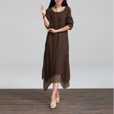 Top 10 Zanzea 2016 Gaun Model Vintage Sprei Katun Panjang Kasual Wanita Longgar Leher O Boho Gaun Panjang Maxi Ukuran Vestidos 3 Warnd Online