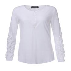 Spesifikasi Zanzea 2016 Semi Kasual Wanita Blus Kemeja Wanita Lengan Panjang Bordir Renda Menyambung Bagian Bawah Leher O Atasan Tee Ukuran Lebih Putih Terbaru