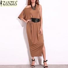 ZANZEA 2017 Fashion Wanita SATU Bahu Darpe Pesta Malam Gaun Panjang Maxi dari Bahu Dibagi Patchwork Baju Kemeja Etnis Tops (Khaki) -Intl