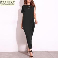ZANZEA 2017 Fashion Wanita SATU Bahu Darpe Pesta Malam Gaun Panjang Maxi dari Bahu Dibagi Patchwork Baju Kemeja Etnis Tops (hitam) -Intl