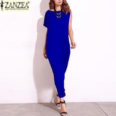 ZANZEA 2017 Fashion Wanita SATU Bahu Darpe Pesta Malam Gaun Panjang Maxi dari Bahu Dibagi Patchwork Baju Kemeja Etnis Tops (biru) -Intl