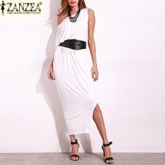 ZANZEA 2017 Fashion Wanita SATU Bahu Darpe Pesta Malam Gaun Panjang Maxi dari Bahu Dibagi Patchwork Baju Kemeja Etnis Tops (Off Putih) -Intl