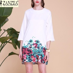 Review Zanzea 2017 S 5Xl Fashion Fall Dress Wanita Kantor Dress Elegan O Neck Floral Gaun Putih Intl Di Indonesia