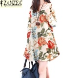 Tips Beli Zanzea 2017 Trendy Musim Gugur Linen Dress Wanita Vintage Bunga Dress V Leher Lengan Panjang Casual Cute Mini Gaun Apricot Intl