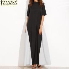 Zanzea 2017 Trendy Women Casual Zipper Back Splice Patchwork Pendek Longgar Maxi Lengan Panjang Baju Kemeja Plus Ukuran (HITAM Putih) -Intl